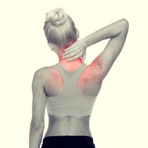 fitness, healthcare and medicine concept - sporty woman touching her neck