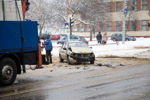 car crash accident on city road in winter